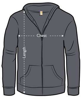 jersey zip-up hoodie measurements